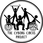 """A black and white logo encased in a circle made of two black lines where the outer line is thicker than the inner line. Inside of the circle at the bottom is the text """"The Cyborg Circus Project"""". On top of the text is an image of 5 black and white figures, in a pyramid formation. There are two manual wheelchair users on the right and left of the pyramid base. In the middle of them is a standing person with a neurodiversity symbol on their chest. This figure is heavier. At the top of the pyramid on the left is a figure holding a curved cane above their head. On the right is a figure with a right below the knee prosthetic leg. All of the figures are supporting each other to hold the pyramid shape."""